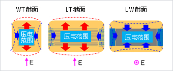 Figure 2. Deformation of Chip by Electrostrictive Phenomenon when Applying a Voltage