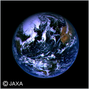 "Color image of Earth shot by ""Hayabusa"""