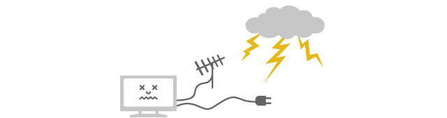 Surge can enter from power line or antenna line without direct lightning hit