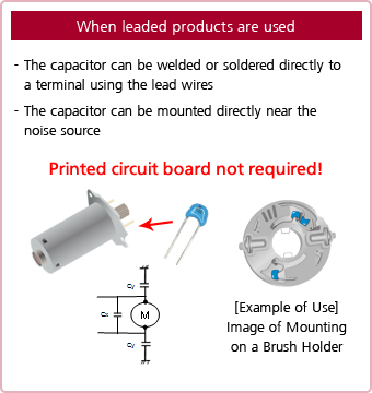 Murata,leaded products,lead wires,welded or soldered directly,mounted directly near the noise source