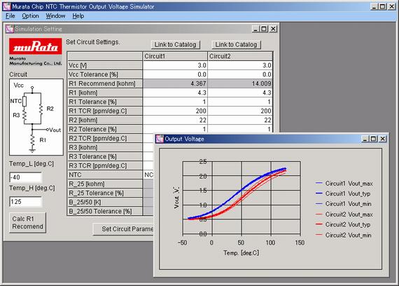 Murata Chip NTC Thermistor Output Voltage Simulator | Murata