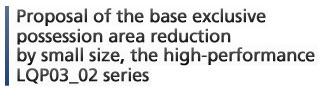 Proposal of the base exclusive possession area reduction by small size, the high-performance LQP03_02 series