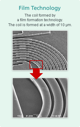 Film Technology The coil formed by a film formation technology. The coil is formed at a width of 10µm.