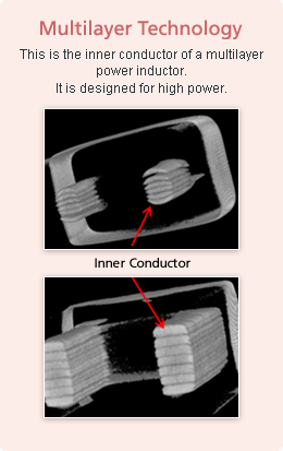 Multilayer Technology This is the inner conductor of a multilayer power inductor. It is designed for high power.