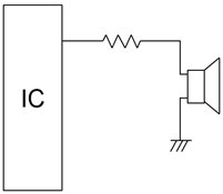 Example of a drive circuit for a piezoelectric sounder or a piezoelectric diaphragm in the case where the sounder or diaphragm is driven directly from a microcomputer