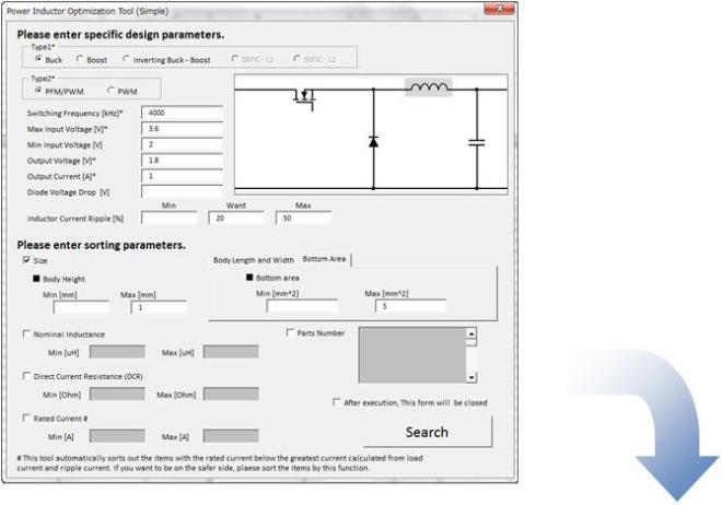 murata power inductor selection tool
